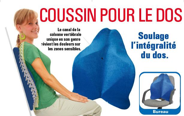 coussin de confort pour le dos bleu shop trendmail. Black Bedroom Furniture Sets. Home Design Ideas