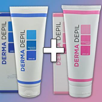 Derma Depil Set (Enthaarungscreme, 200ml + Haarwuchshemmer, 200ml)
