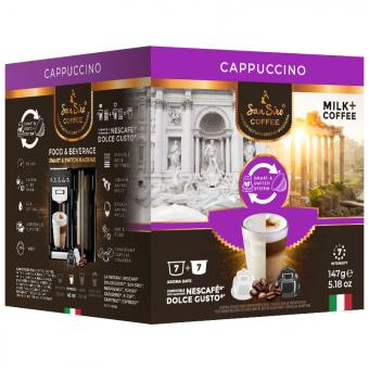 SanSiro Cappuccino 7 capsules de café + 7 capsules de lait DG-Box