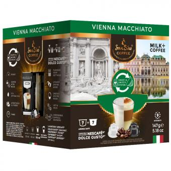 SanSiro Vienna Macchiato 7 capsules de café + 7 capsules de lait DG-Box